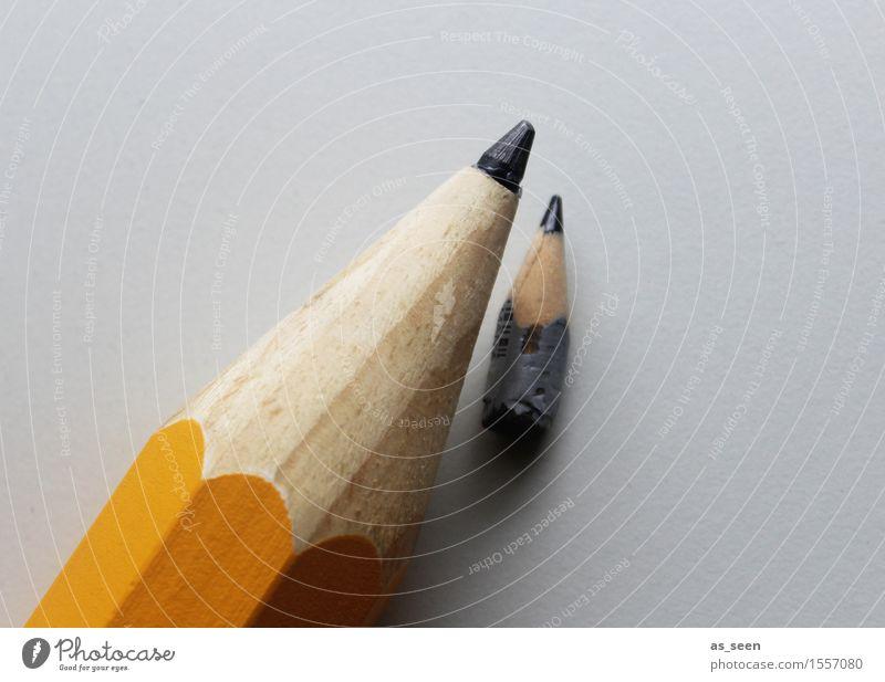 Think big Farbe gelb klein grau Schule Design liegen Kreativität groß lernen Spitze Kultur Papier Grafik u. Illustration Zusammenhalt Bildung