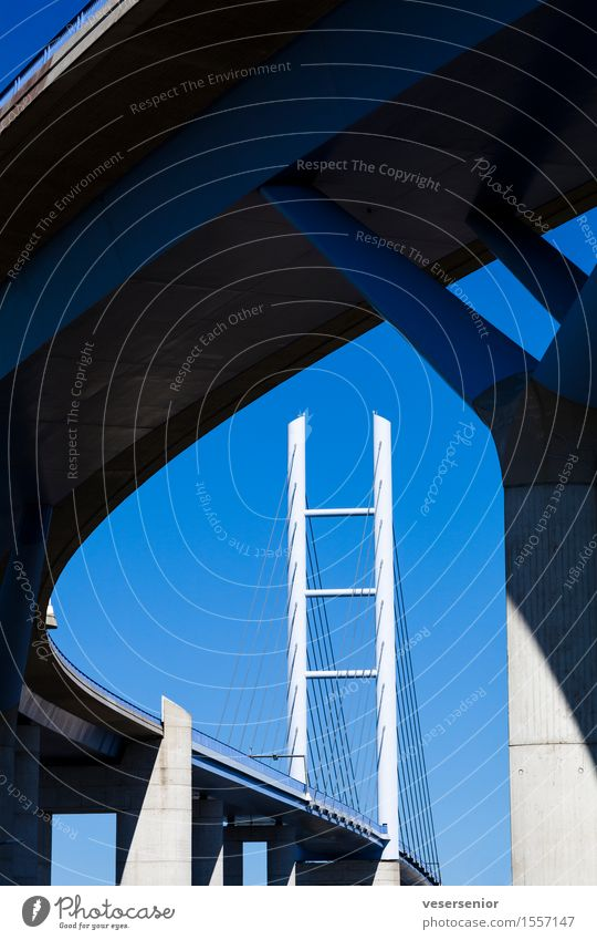 Ruegenbruecke Stralsund Rügen Deutschland Brücke elegant hoch stark blau Sicherheit ästhetisch Stress Design Ferien & Urlaub & Reisen kompetent Mobilität