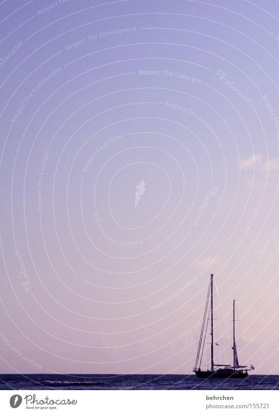 stille Seychellen Wasserfahrzeug Segeln Meer Himmel Sonnenuntergang rosa Ferien & Urlaub & Reisen genießen Flitterwochen Strommast die seele baumeln lassen