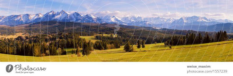 Panorama von schneebedeckten Tatra-Bergen im Frühjahr, Süd-Polen Ferien & Urlaub & Reisen Tourismus Schnee Berge u. Gebirge wandern Natur Landschaft Himmel