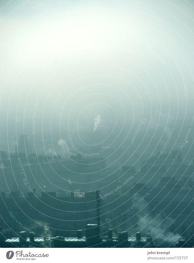soupe de brouillard Himmel Stadt ruhig Winter Traurigkeit Herbst grau Nebel geschlossen Vergänglichkeit Dach Unendlichkeit viele Abgas Schornstein Klimawandel