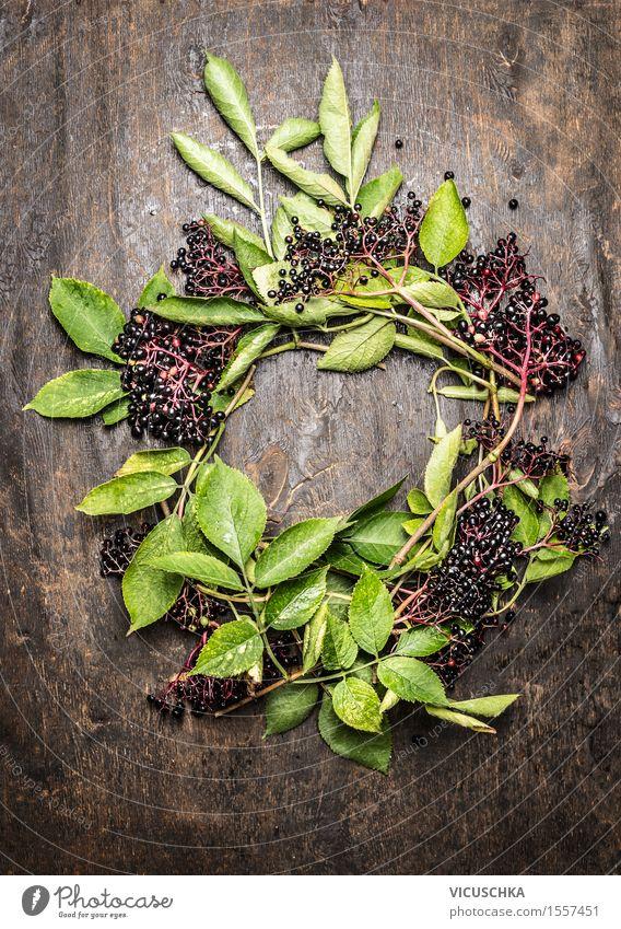 Kranz aus Holunder Zweige mit Beeren und Blättern Natur Pflanze Baum Gesunde Ernährung Leben Foodfotografie Stil Lebensmittel Design Frucht wild Tisch