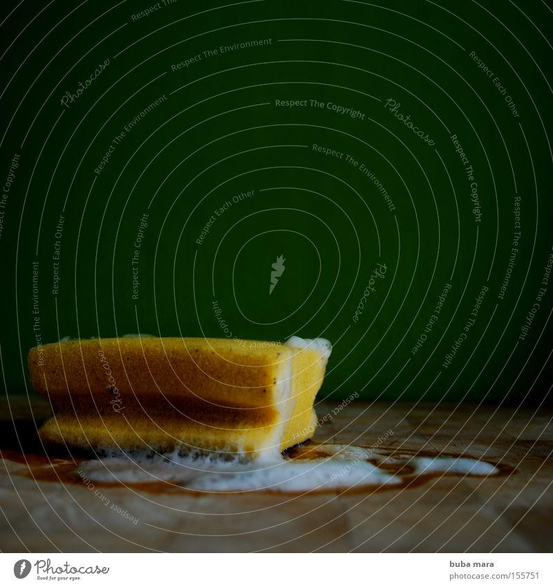 schwamm drüber Schwamm Schaum Geschirrspülen grün Sauberkeit Haushalt Arbeit & Erwerbstätigkeit Holzbrett Schneidebrett Trieb Pilz