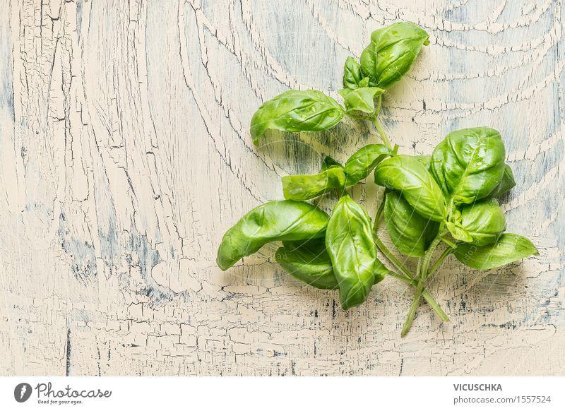 Frisches Basilikum Bündel mit Wassertropfen Lebensmittel Kräuter & Gewürze Ernährung Bioprodukte Vegetarische Ernährung Diät Stil Design Gesunde Ernährung