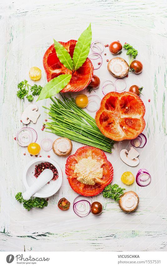 Frische Paprika und Zutaten fürs Kochen Gesunde Ernährung Leben Speise Essen Foodfotografie Stil Lebensmittel Design Tisch Kochen & Garen & Backen