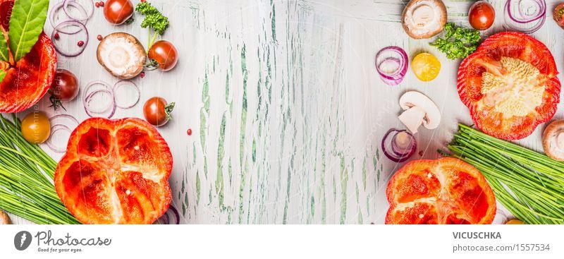 Paprika und gehacktes Gemüse fürs Kochen Gesunde Ernährung gelb Leben Essen Foodfotografie Hintergrundbild Stil Lebensmittel Design frisch Tisch