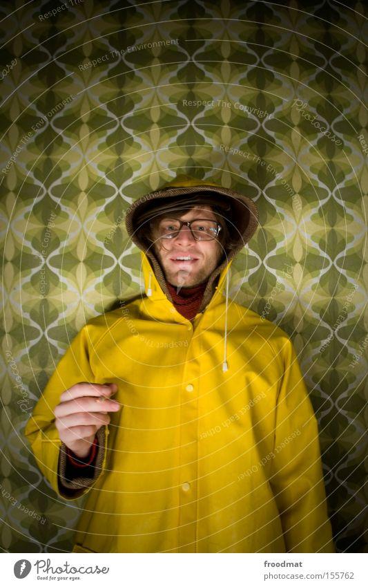 baumeister Design DDR retro Regenmantel Coolness Stil Freak Rauchen Tapete Muster Student Bart Langzeitbelichtung historisch Vergänglichkeit hornbrille