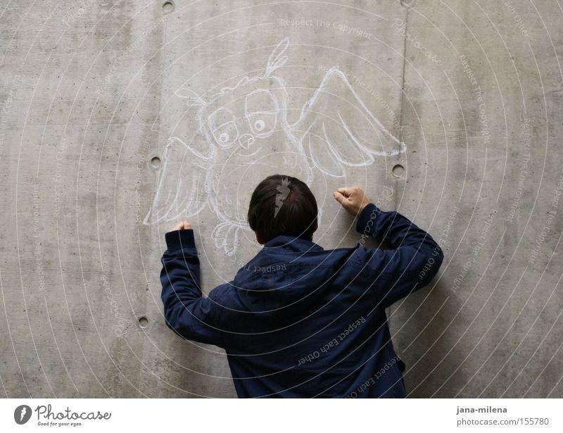 was willst du eigentlich??? Mann Wand grau Rücken Beton trist Wut Jacke Aggression Ärger Faust Alltagsfotografie Eulenvögel Sozialer Dienst
