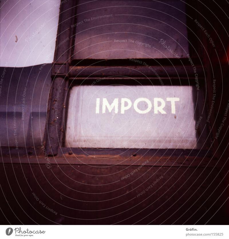 Wirtschaftskrise Güterverkehr & Logistik Alte Speicherstadt Fenster alt Handel Mittelformat veraltet Krise Buchstaben Industrie Schriftzeichen Fensterscheibe