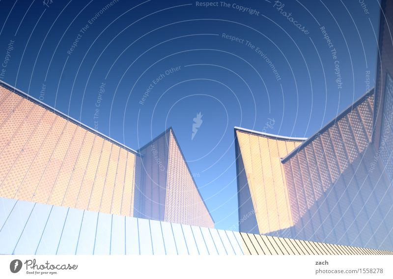 Viel Harmonie Himmel Stadt blau gelb Architektur Berlin Kunst Fassade Musik Bauwerk Wahrzeichen Hauptstadt Stadtzentrum Sehenswürdigkeit eckig Doppelbelichtung