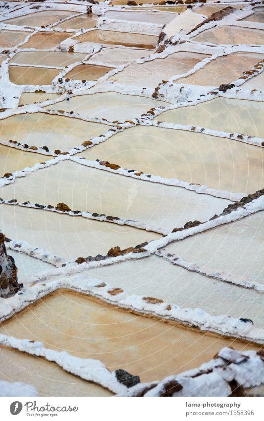 Weißes Gold Salz Kochsalz Landschaft Maras Peru Südamerika weiß Saline Salzterrasse mehrfarbig Inka Farbfoto Außenaufnahme