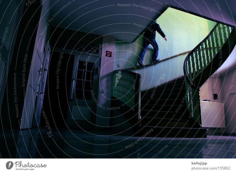 geländegängig Mensch Mann grün Architektur Zufriedenheit rosa Treppe gefährlich bedrohlich Geländer Treppengeländer Treppenhaus Brückengeländer aufwärts