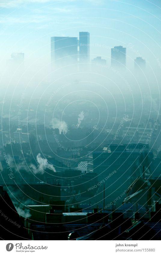 wien gedünstet Himmel Stadt ruhig Traurigkeit Nebel Hochhaus Skyline Abgas Wien November trüb Schleier Smog