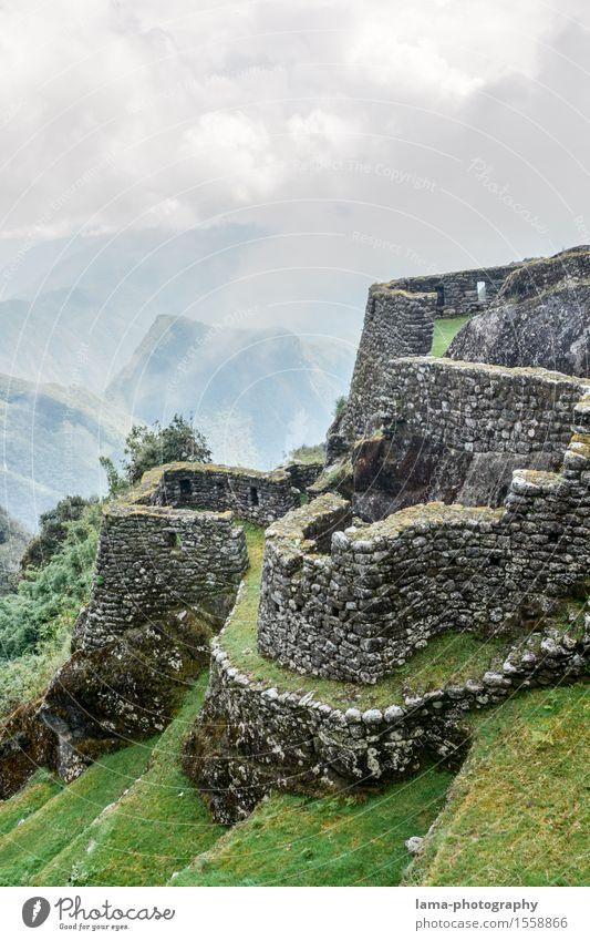Im Reich der Inka Ferien & Urlaub & Reisen Tourismus Ausflug Abenteuer Machu Pichu Cuzco Peru Südamerika Ruine Bauwerk Festung Mauer Wand Sehenswürdigkeit