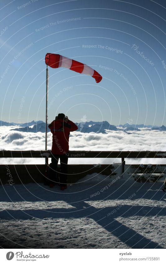 Ost 2-3 Mensch Himmel Winter Wolken Ferne Schnee Berge u. Gebirge Wind Aussicht Alpen Sturm Fotografieren Stab Allgäu Tornado