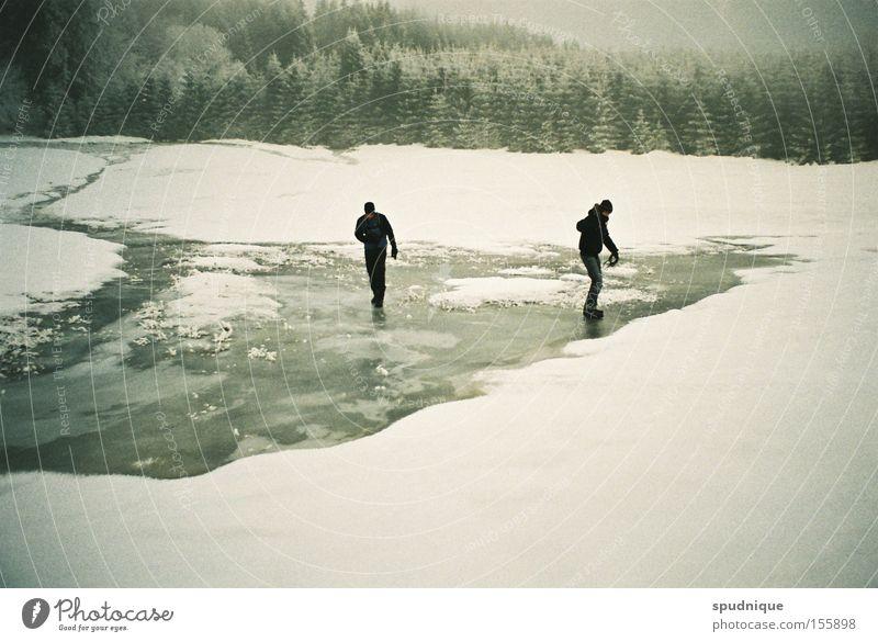 on a frozen day in summer Wasser weiß Winter ruhig Wald Schnee Wiese Eis wandern gefroren frieren brechen Waldlichtung rutschen gleiten Winterwald