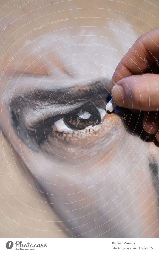 Kreidezeit Mensch maskulin Mann Erwachsene Gesicht Auge 1 Gefühle Stimmung Packpapier braun Augenbraue intensiv Zeichnung Kohle zeichenkohle Kunst rötel streng
