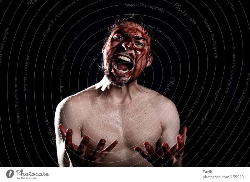 hate & pain Mann Hand Gesicht schwarz dunkel sprechen Kopf Wut schreien Schmerz Blut Ärger Aggression Hass