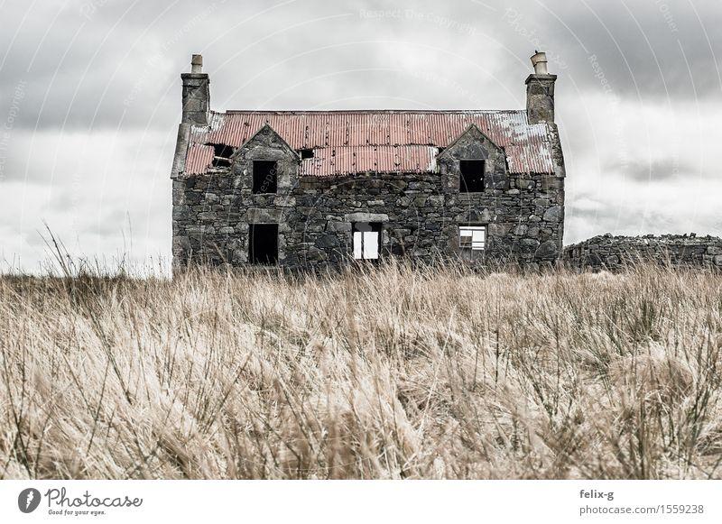 Creepy alt Landschaft Wolken Haus Traurigkeit Herbst Senior Wiese Gras grau Stein Fassade Angst Wind Vergänglichkeit Vergangenheit