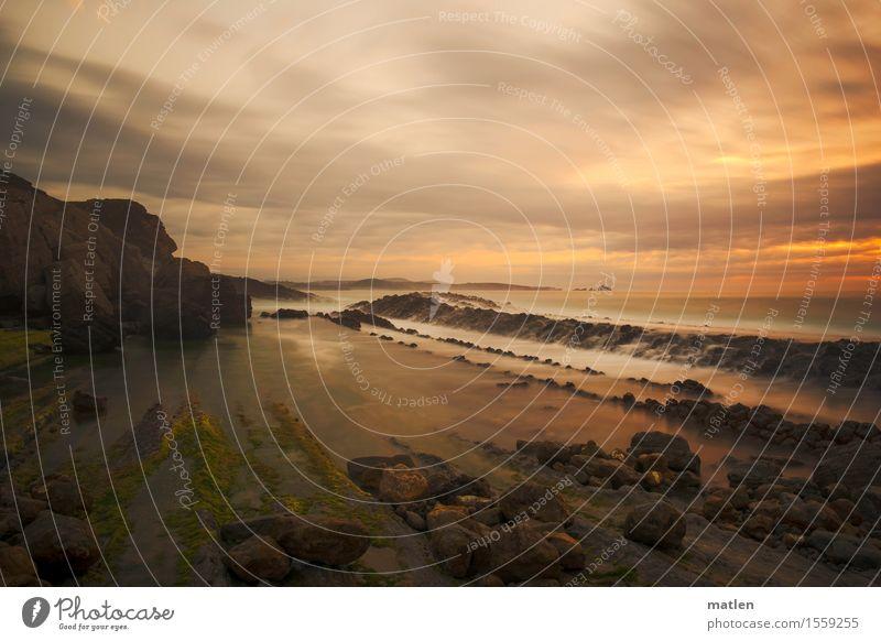 Ausatmen Umwelt Natur Landschaft Himmel Wolken Horizont Sonnenaufgang Sonnenuntergang Sommer Klima Wetter Felsen Wellen Küste Strand Riff Meer gigantisch grau