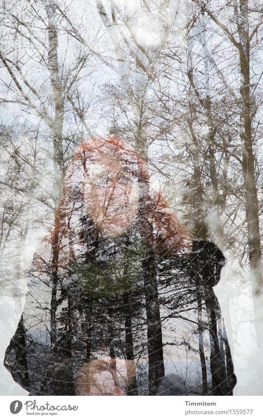 Happy Birthday Beate-Helena! Frau Erwachsene 1 Mensch Natur Pflanze Winter Wald Blick stehen Hoffnung Doppelbelichtung Farbfoto Außenaufnahme Tag