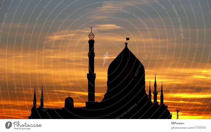 .:DD:. historisch Dresden Sonnenuntergang Wolkenhimmel Abenddämmerung Abendsonne Palast Naher und Mittlerer Osten Moschee Schattenspiel Yenidze Silhouette