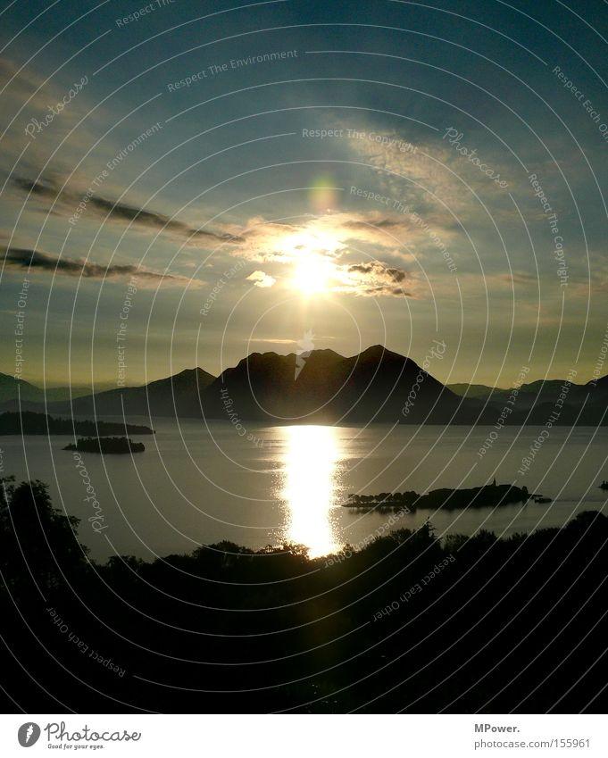 Lago Sonne Italien See Sonnenaufgang Sonnenuntergang Panorama (Aussicht) Ferien & Urlaub & Reisen Süden Sommer Berge u. Gebirge Lago Maggiore Alpen groß