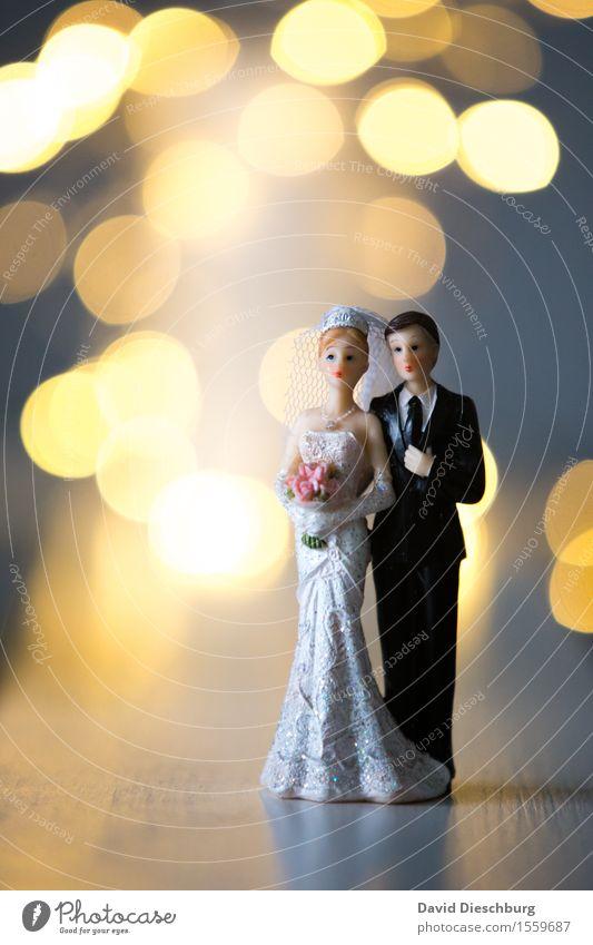Schönster Tag Hochzeit Frau Erwachsene Mann Paar Partner Körper Frühling Sommer Kleid Anzug Glück Vertrauen Sicherheit Warmherzigkeit Zusammensein Liebe