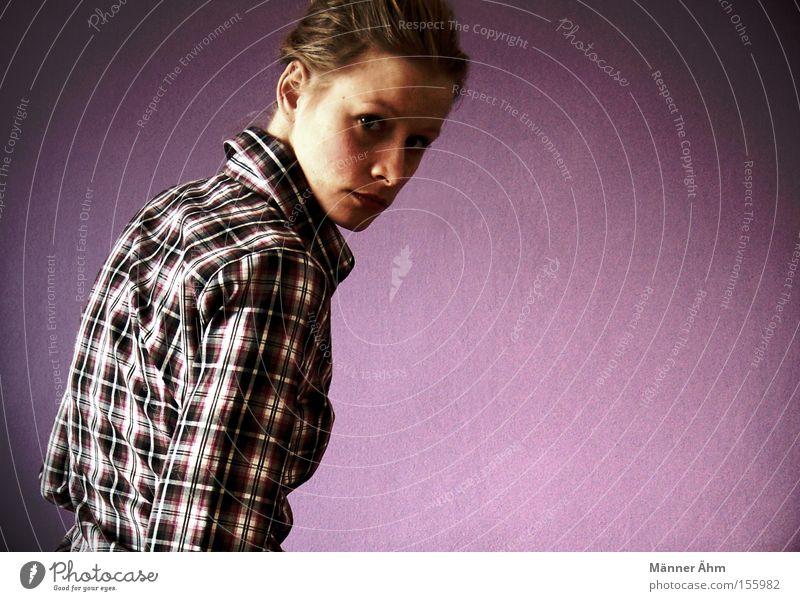 Großkariert. Frau Rücken Bekleidung Hemd drehen Schwäche Bluse