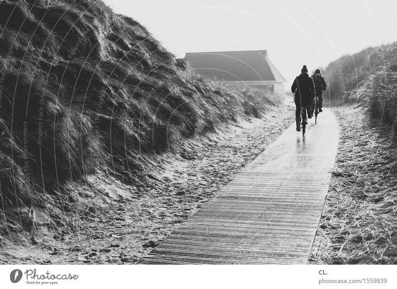 ausflug Ferien & Urlaub & Reisen Tourismus Ausflug Strand Mensch Erwachsene Leben 2 Umwelt Natur Landschaft Sand Himmel Nordsee Insel Düne Haus Verkehr