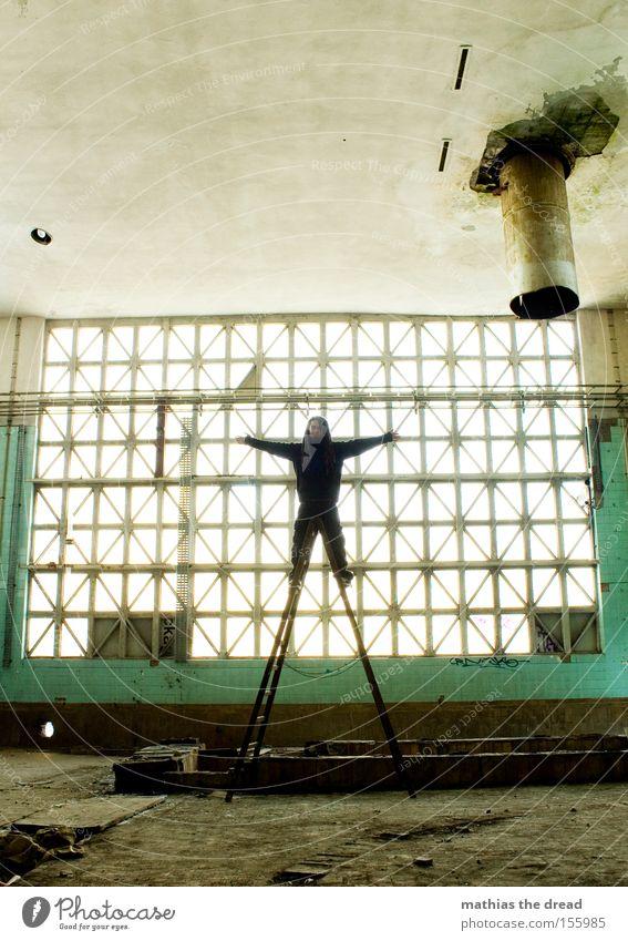 X-STANDING Fenster Glasfassade hell Saal Leiter X-Men stehen Geometrie Strukturen & Formen Linie Schatten Raum verfallen gefährlich obskur abzugsrohr