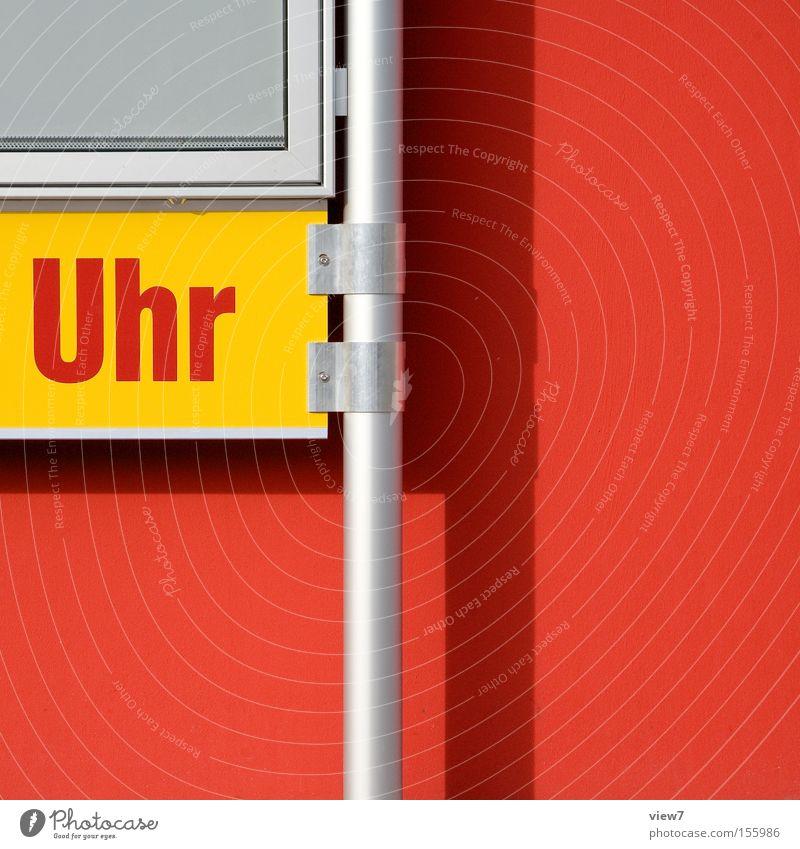 zeit. rot Schilder & Markierungen Schriftzeichen Buchstaben Zeichen Hinweisschild Typographie Warnhinweis Aufschlag gestikulieren Supermarkt Kiosk Warnung