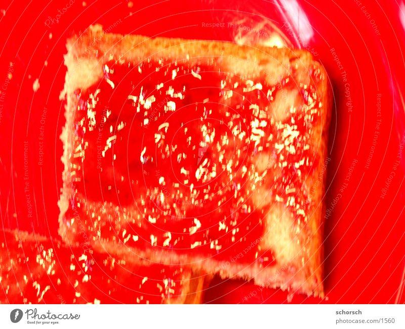 Marmeladenbrot rot Ernährung Frühstück Brot Teller Marmelade Toastbrot