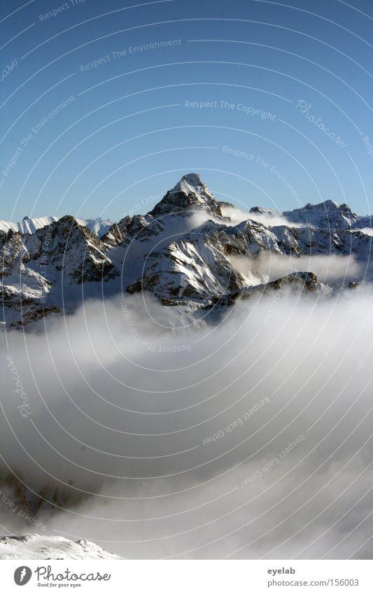 Paramount ? Himmel Winter Wolken Ferne Schnee Berge u. Gebirge Horizont Felsen Aussicht Alpen Gipfel Tal erhaben monumental
