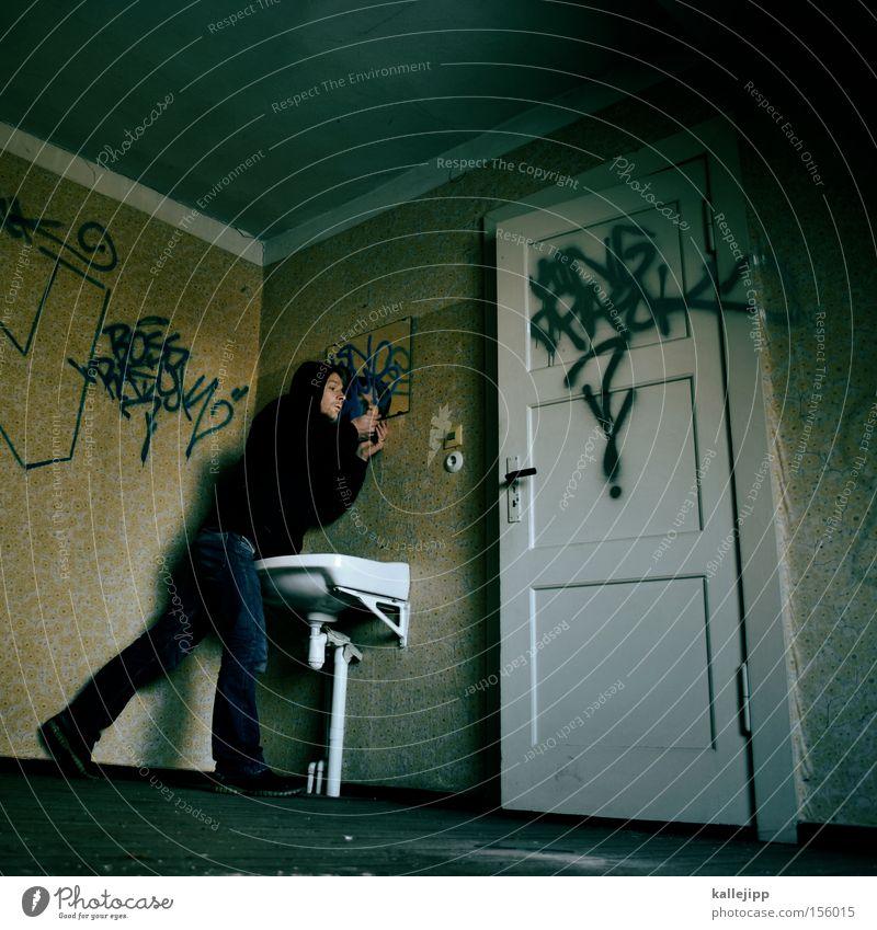 mitesser Mensch Mann Graffiti Tür Raum Sauberkeit Bad Spiegel Tapete Örtlichkeit Griff Waschbecken Körperpflegeutensilien Waschhaus