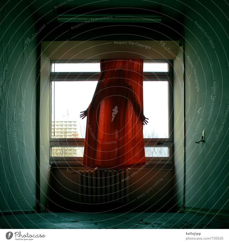 vorhang auf Mensch Schauspieler Vorhang Fenster Hochhaus Heizkörper Heizung Finger Hand gruselig Geister u. Gespenster Aussicht Tracht Sehnsucht Selbstmörder