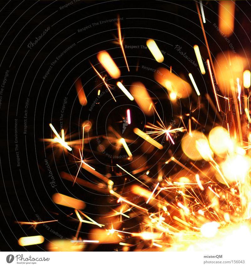 Silvesterparty - Funkenflug. explosiv Explosion zündend heiß Brand Feuer brennen Momentaufnahme Feste & Feiern Silvester u. Neujahr Zauberei u. Magie