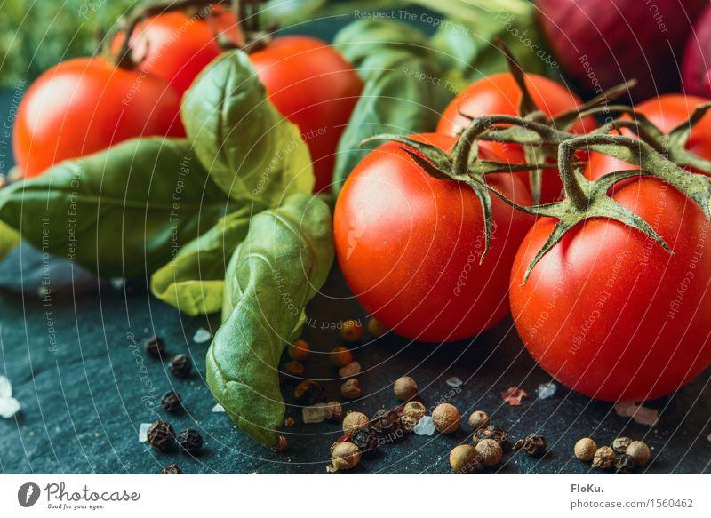 Tomate Basilikum Lebensmittel Gemüse Kräuter & Gewürze Ernährung Bioprodukte Vegetarische Ernährung Diät Italienische Küche frisch Gesundheit lecker grün rot