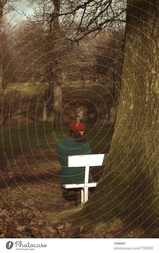 moment im park ii Park Parkbank sitzen Frau Denken ruhig Erholung Pause Baum Herbst kalt Trauer Einsamkeit Garten nachdenken Traurigkeit