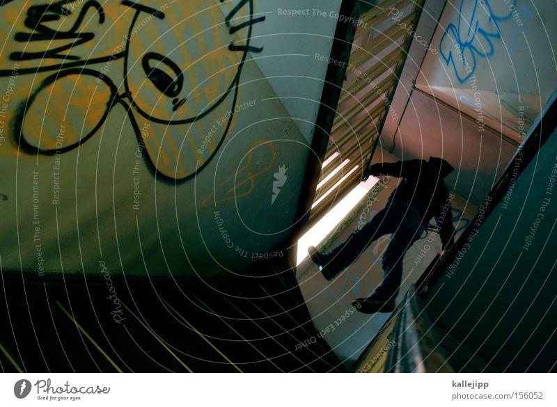 stubenflieger Mensch Mann Haus Graffiti Kraft fliegen Treppe Luftverkehr Niveau Geländer Treppengeländer Schweben Treppenhaus Geister u. Gespenster Turnen Mieter