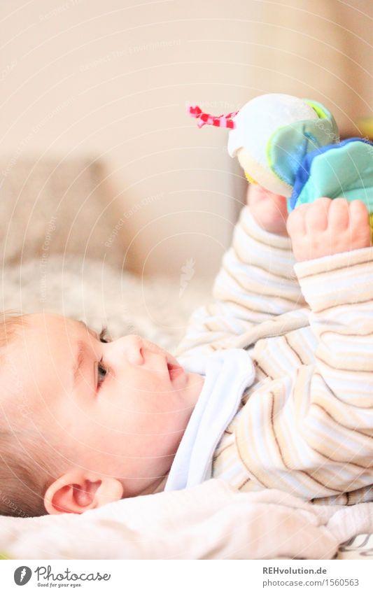 """""""Zeit zu spielen!"""" maskulin Baby 1 Mensch 0-12 Monate liegen Spielen niedlich Vertrauen Geborgenheit Bildung entdecken Glück lernen forschen Neugier klein"""