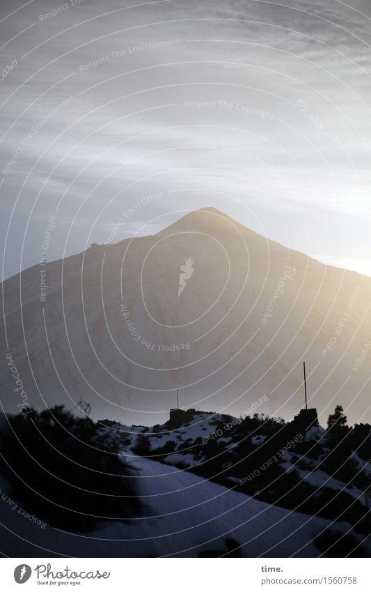 Weltnaturerbe Umwelt Natur Landschaft Himmel Wolken Schönes Wetter schlechtes Wetter Wind Berge u. Gebirge Teide Verkehrswege Straße dunkel hoch natürlich