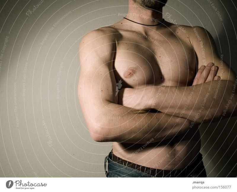 Aphrodieter Farbfoto Gedeckte Farben Innenaufnahme Oberkörper Lifestyle Körper Gesundheit Sportler Mensch maskulin Mann Erwachsene Haut Brust Arme Finger 1