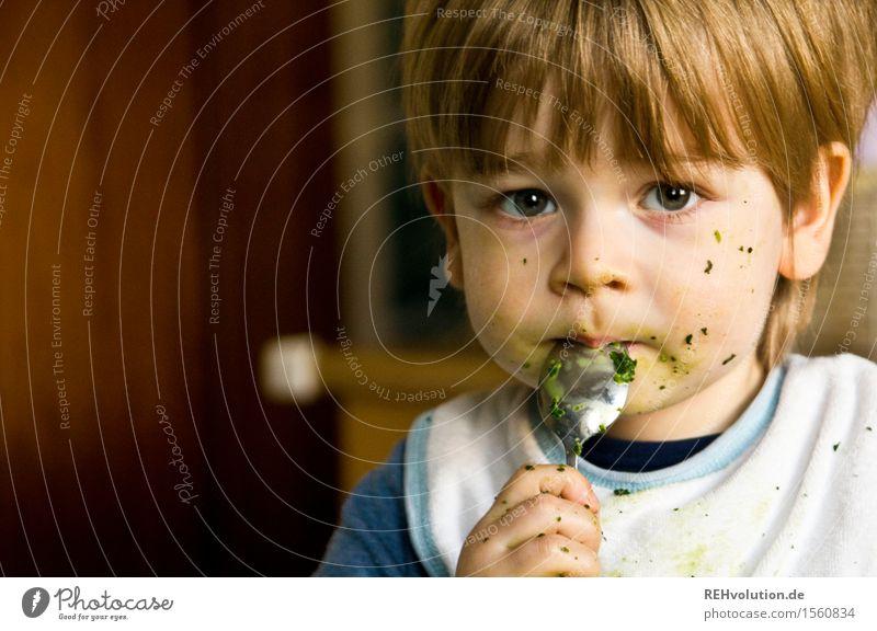 Junge isst Spinat Lebensmittel Ernährung Essen Löffel Gesunde Ernährung Mensch maskulin Kind Kleinkind Gesicht 1 1-3 Jahre dreckig Gesundheit klein niedlich