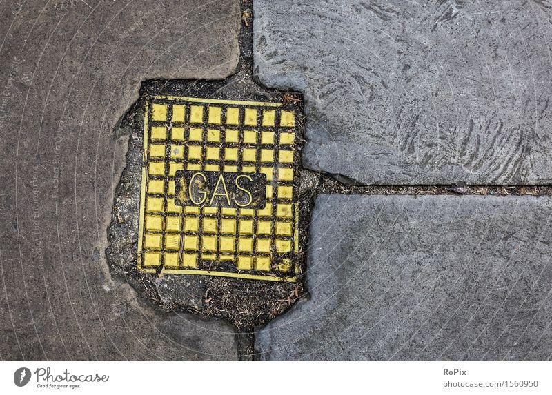 GAS Stadt Umwelt gelb Straße Wege & Pfade Stein Arbeit & Erwerbstätigkeit Energiewirtschaft Schilder & Markierungen Schriftzeichen Zukunft Klima Hinweisschild