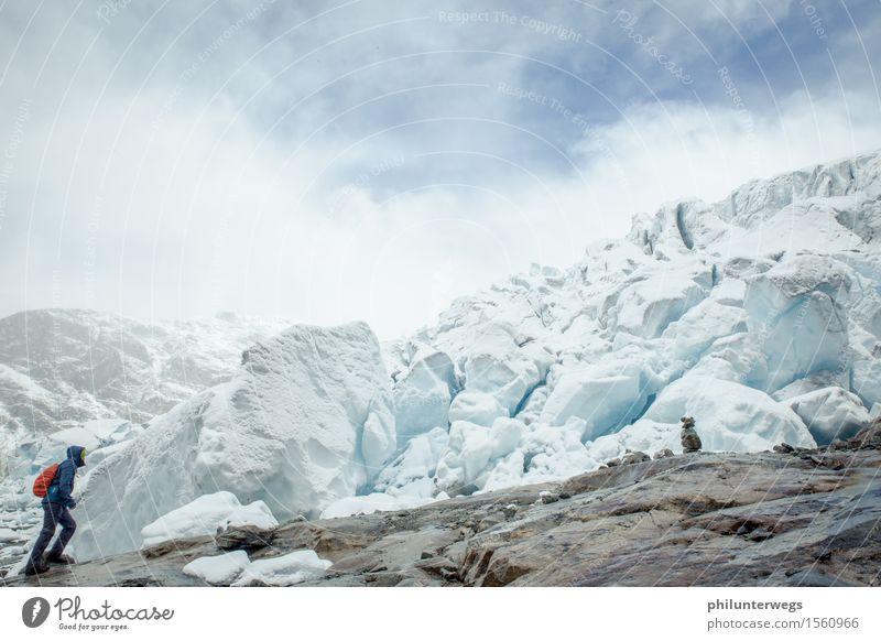 Rutschpartie? Himmel Natur Ferien & Urlaub & Reisen Wasser Einsamkeit Wolken Berge u. Gebirge Umwelt Schnee Sport Felsen Schneefall Nebel Eis wandern Klima