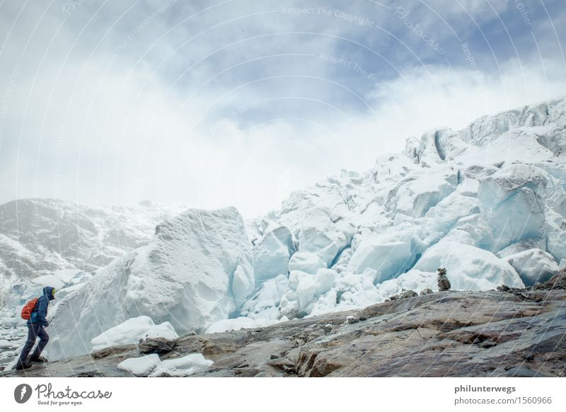 Rutschpartie? Sport wandern Umwelt Natur Urelemente Wasser Himmel Wolken Klima Klimawandel schlechtes Wetter Nebel Eis Frost Schnee Schneefall Hügel Felsen