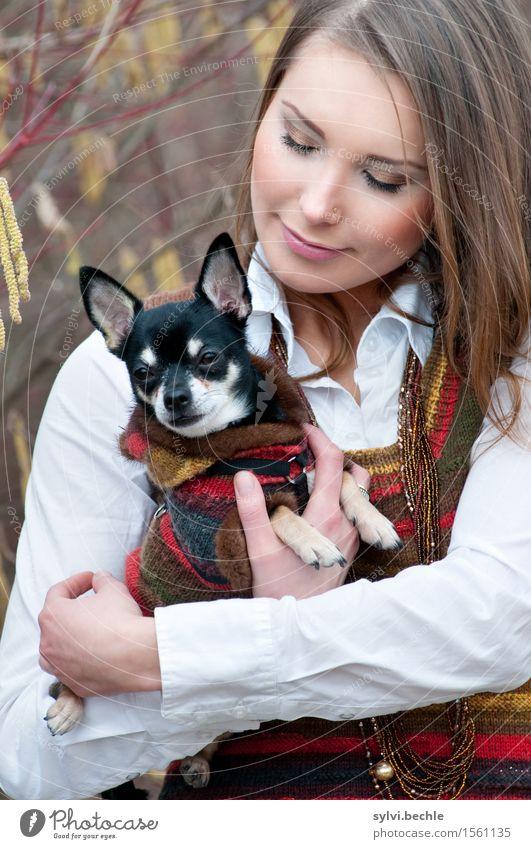 The girl and her dog elegant Stil schön Wohlgefühl Zufriedenheit ruhig Mensch feminin Junge Frau Jugendliche Leben 18-30 Jahre Erwachsene Umwelt Natur Herbst