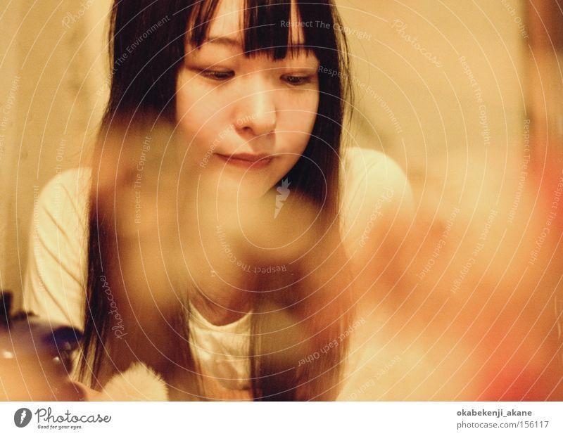 Frau Luft Porträt Café Japan Asien Tokyo Stimmungsbild