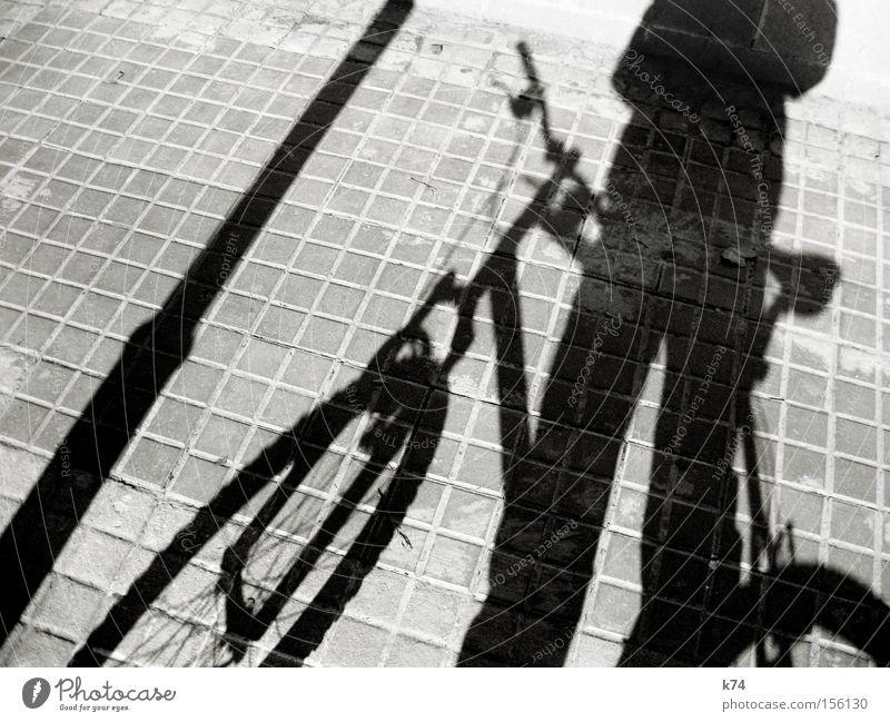lock it Schatten Silhouette Fahrrad Laterne schließen Quadrat entwenden Diebstahl Verkehrswege Mensch
